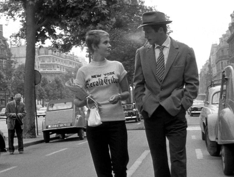 Belmondo dans « A bout de souffle» (1960) de Jean-Luc Godard avec Jean Seberg