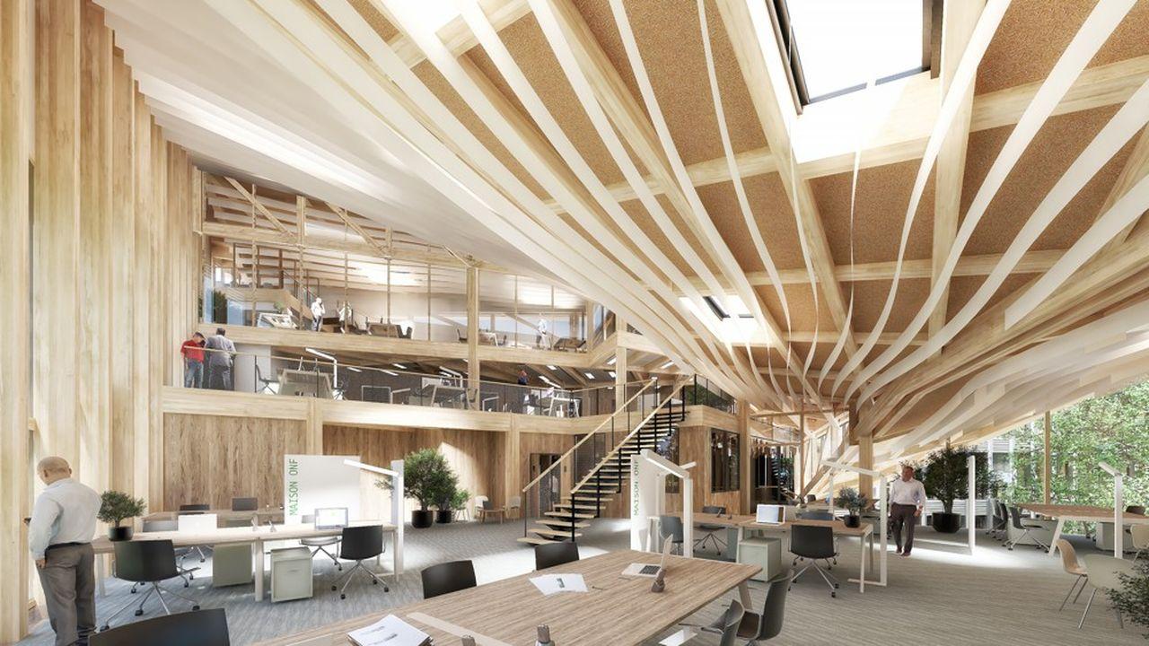 Pour le siège social de l'Office national des Forêts, actuellement en chantier à Maisons-Alfort, l'architecte Vincent Lavergne a conçu un dispositif spatial qui établit une relation visuelle entre les différents plateaux dédiés aux espaces collaboratifs.