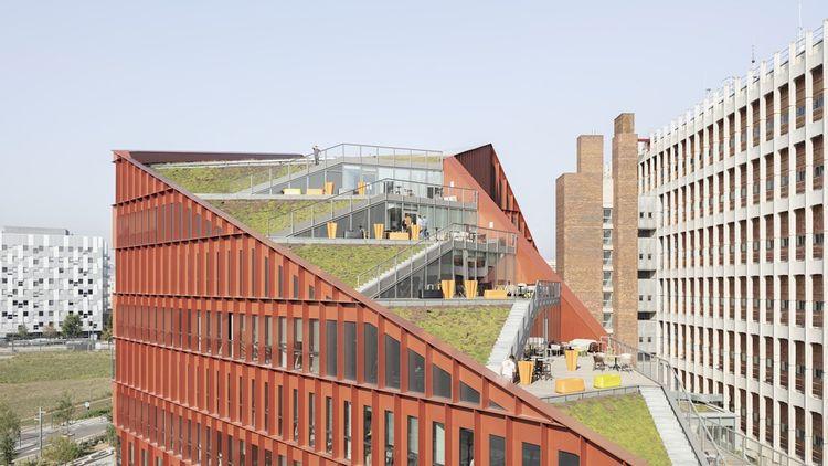 Le nouveau campus « Orange Lumière » d'Orange à Lyon encourage le travail collaboratif par l'ajout d'espaces ouverts et informels intégrant terrasses, toitures et loggias végétalisées.