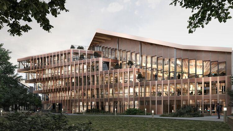 Pour le siège social de l'Office national des Forêts (ONF), actuellement en chantier à Maisons-Alfort, l'architecte Vincent Lavergne a conçu un dispositif spatial qui établit une relation visuelle entre les différents plateaux dédiés aux espaces collaboratifs.