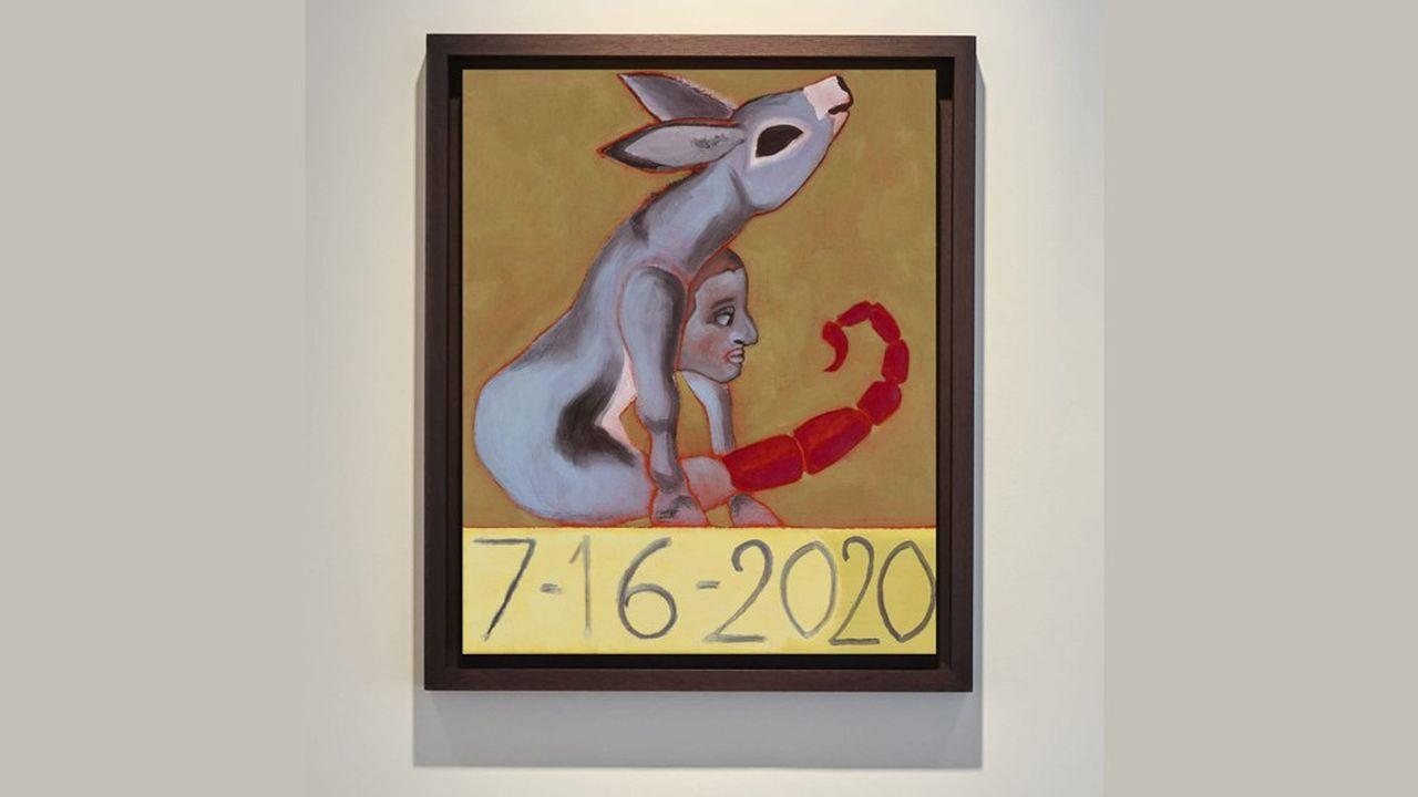 La série de 14 peintures de Francesco Clemente (né en 1952) conçues pendant le confinement de 2020 et reprenant une iconographie médiévale est proposée par la galerie belge Maruani Mercier, 40.000euros pièce.