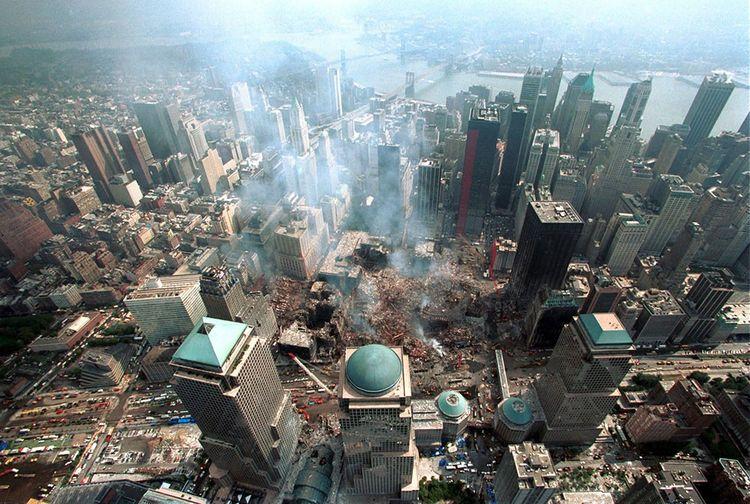 Vue aérienne prise le 26 septembre 2001, quinze jours après les attentats contre les tours jumelles qui ont fait 2.792 victimes.