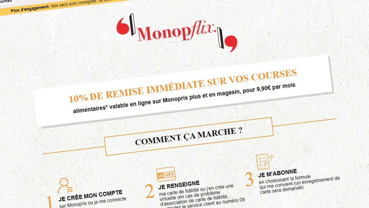 L'abonnement Monopflix offre 10% de réduction sur ses courses pour moins de 10euros par mois.
