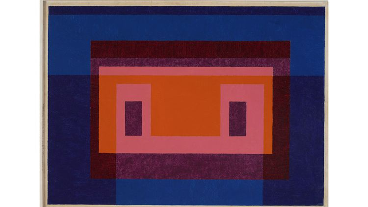 Josef Albers « 4 Central Warm Colors Surrounded by 2 Blues » (1948)