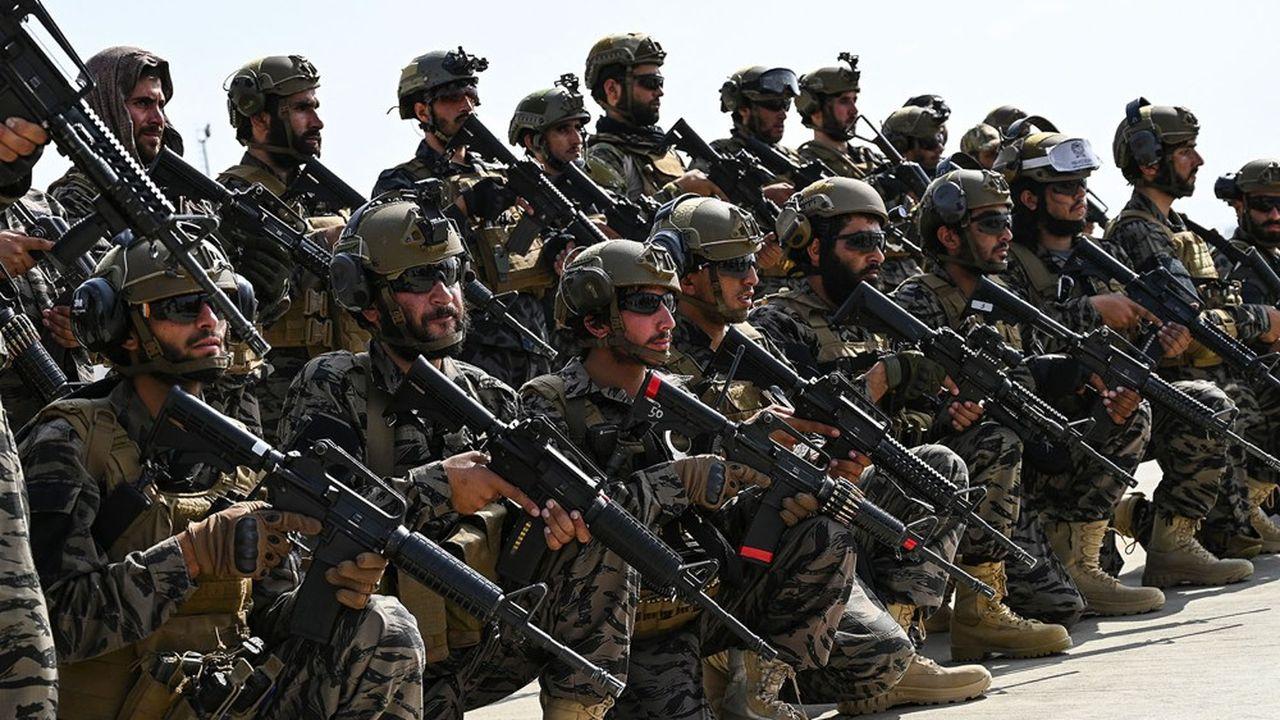 «Badri 313», l'unité d'élite talibane, ici à l'aéroport de Kaboul le 31août.