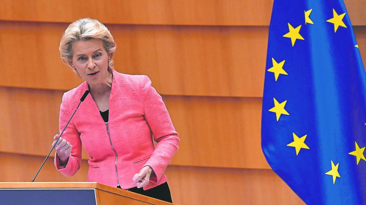Ursula von der Leyen lors de son premier discours sur l'Etat de l'union, le 16septembre 2020 à Strasbourg