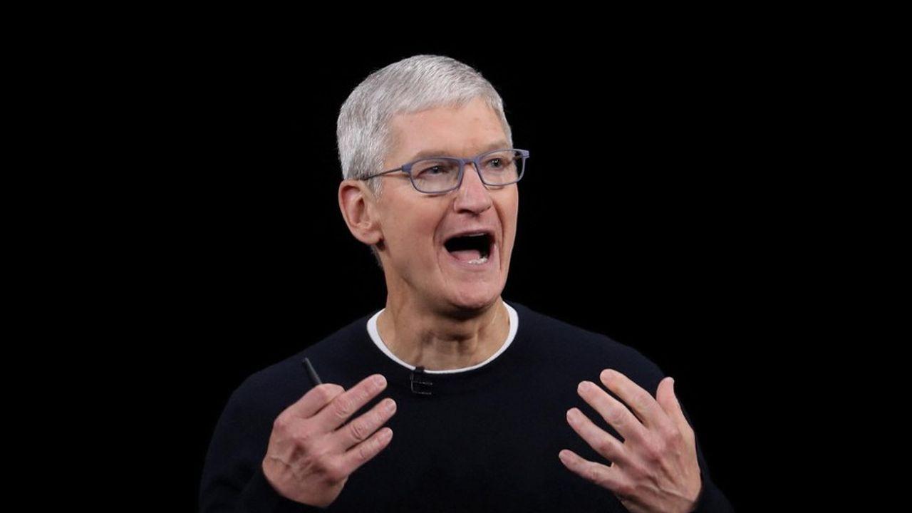 Tim Cook durant une keynote d'Apple. Le patron du géant californien a dévoilé un nouvel iPhone.