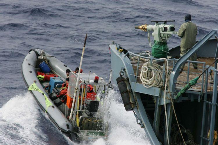 En janvier2006, des activistes de l'ONG traquent un navire japonais chasseur de baleines.