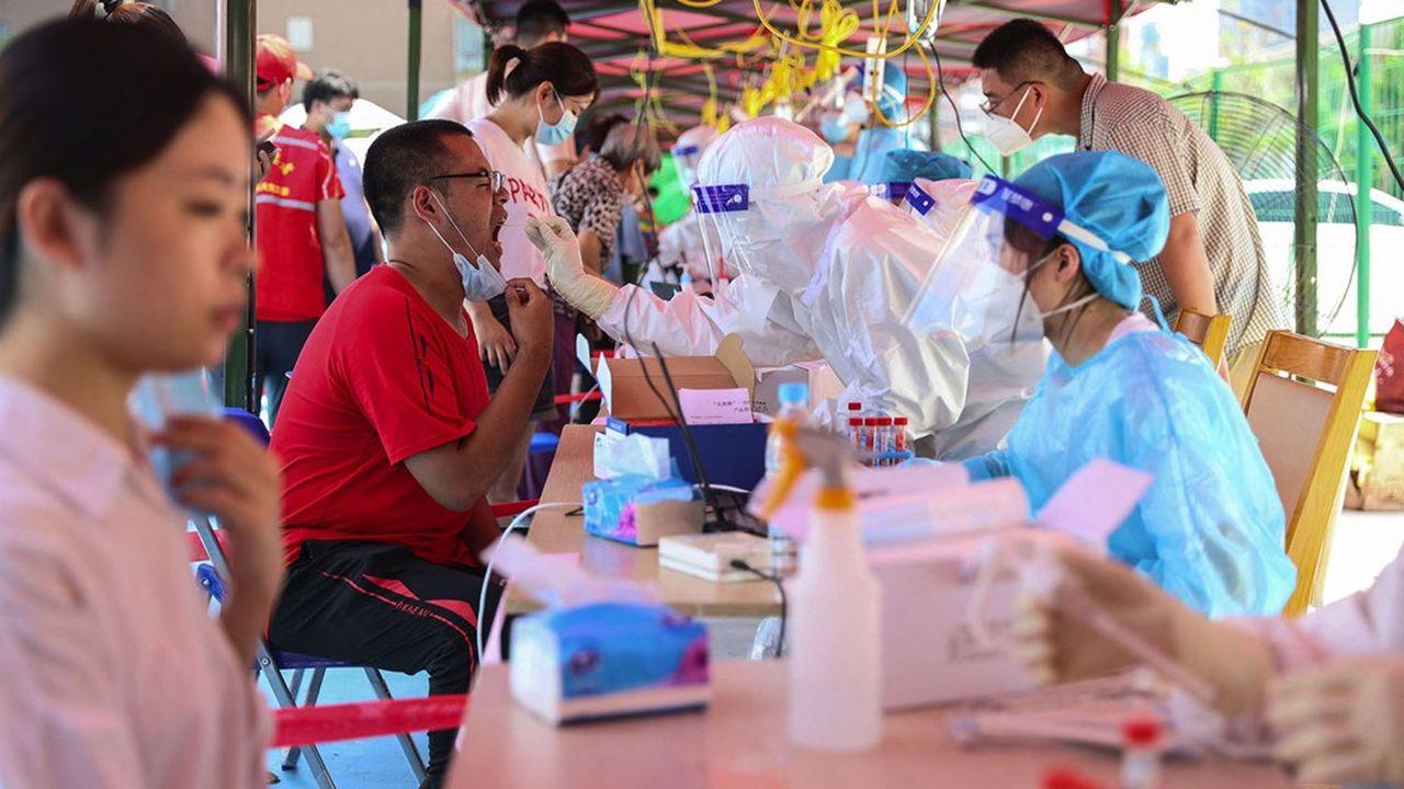 Centre de tests au Covid, à Xiamen, dans la province de Fujian en Chine, le 14 septembre 2021.