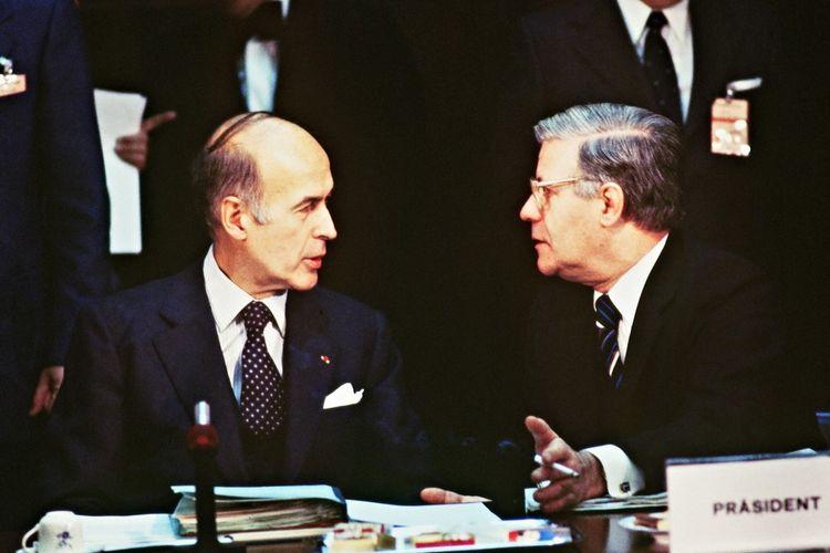 Valéry Giscard d'Estaing et Helmut Schmidt le 4décembre 1978.