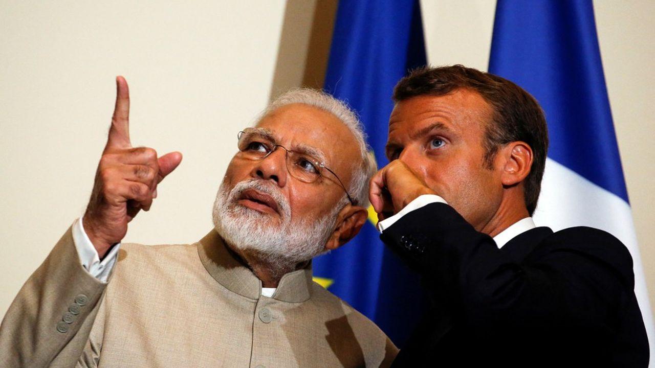Le Premier ministre indien, Narendra Modi, et le président français lors d'une rencontre organisée au château de Chantilly en août2019.