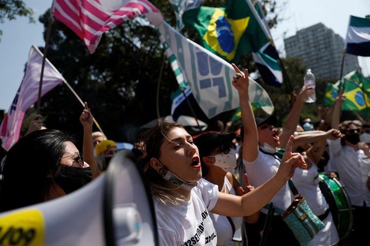 Lors d'une manifestation d'opposants à Jair Bolsonaro à São Paulo, le 12septembre 2021.