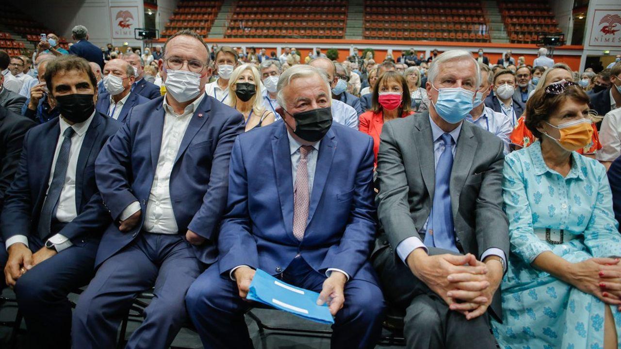 Christian Jacob, Damien Abad, Gérard Larcher et Michel Barnier à Nîmes, le 9septembre dernier.