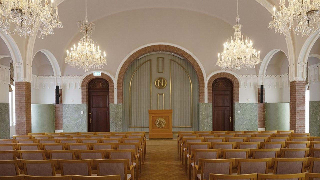 Le Grand Hall de l'Institut Nobel, rénové en 2015 et 2016. C'est là que sera annoncé le lauréat du prix Nobel de la paix.