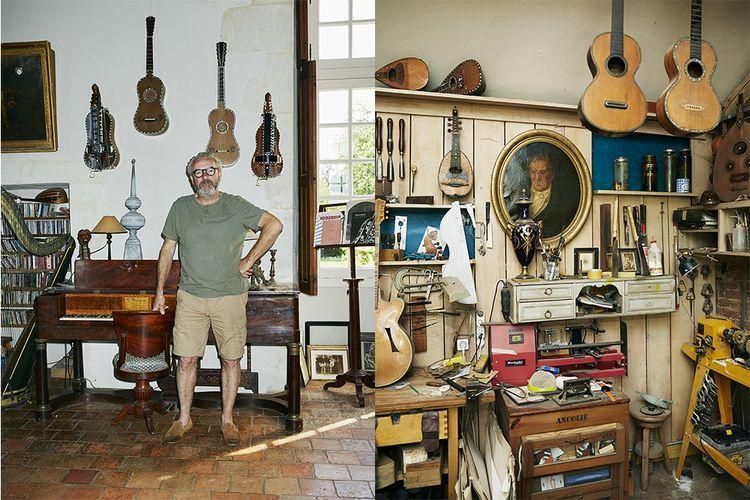 Le luthier Patrick Arguence, et à droite son atelier, dans son manoir du XVIIesiècle.