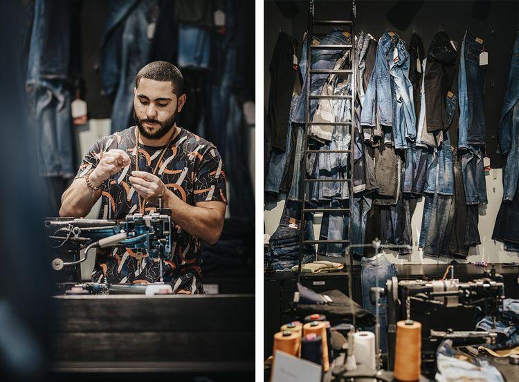 Dans la boutique Nudie Jeans, on peut faire réparer gratuitement son jean, ou le donner pour qu'il soit customisé puis revendu.
