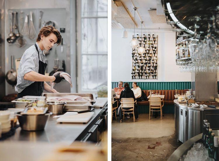 La cuisine ouverte et la salle du restaurant « Symbios ».