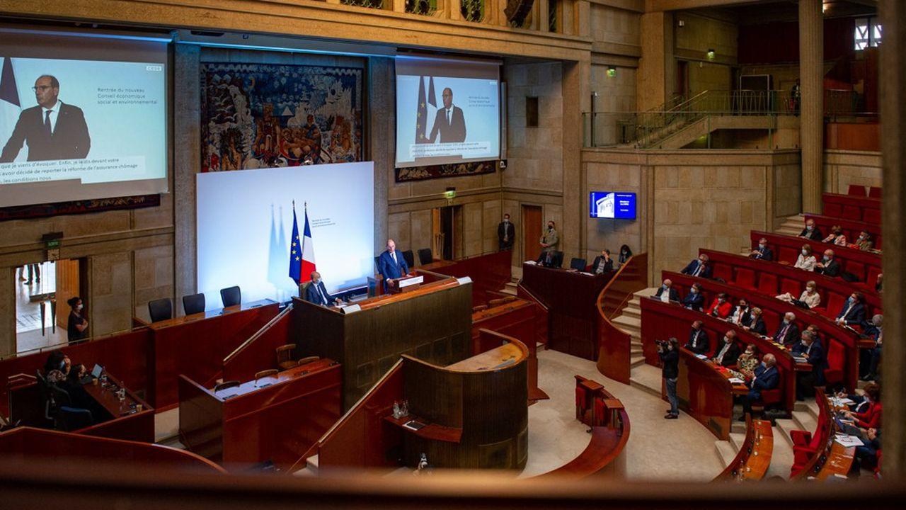 L'assemblée du Conseil économique, social et environnemental, le 14 septembre, lors de la visite du Premier ministre, Jean Castex.