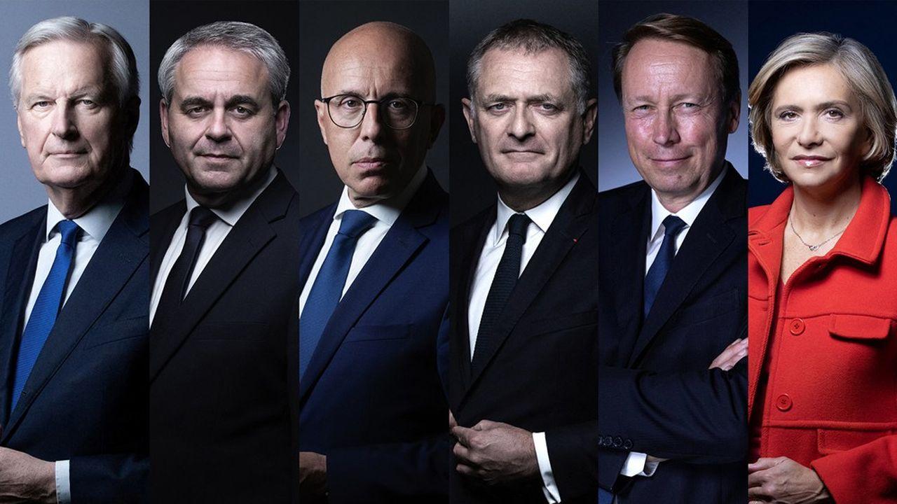 Les six candidats, de gauche à droite (et par ordre alphabétique): Michel Barnier, Xavier Bertrand, Eric Ciotti, Philippe Juvin, Denis Payre et Valérie Pécresse.