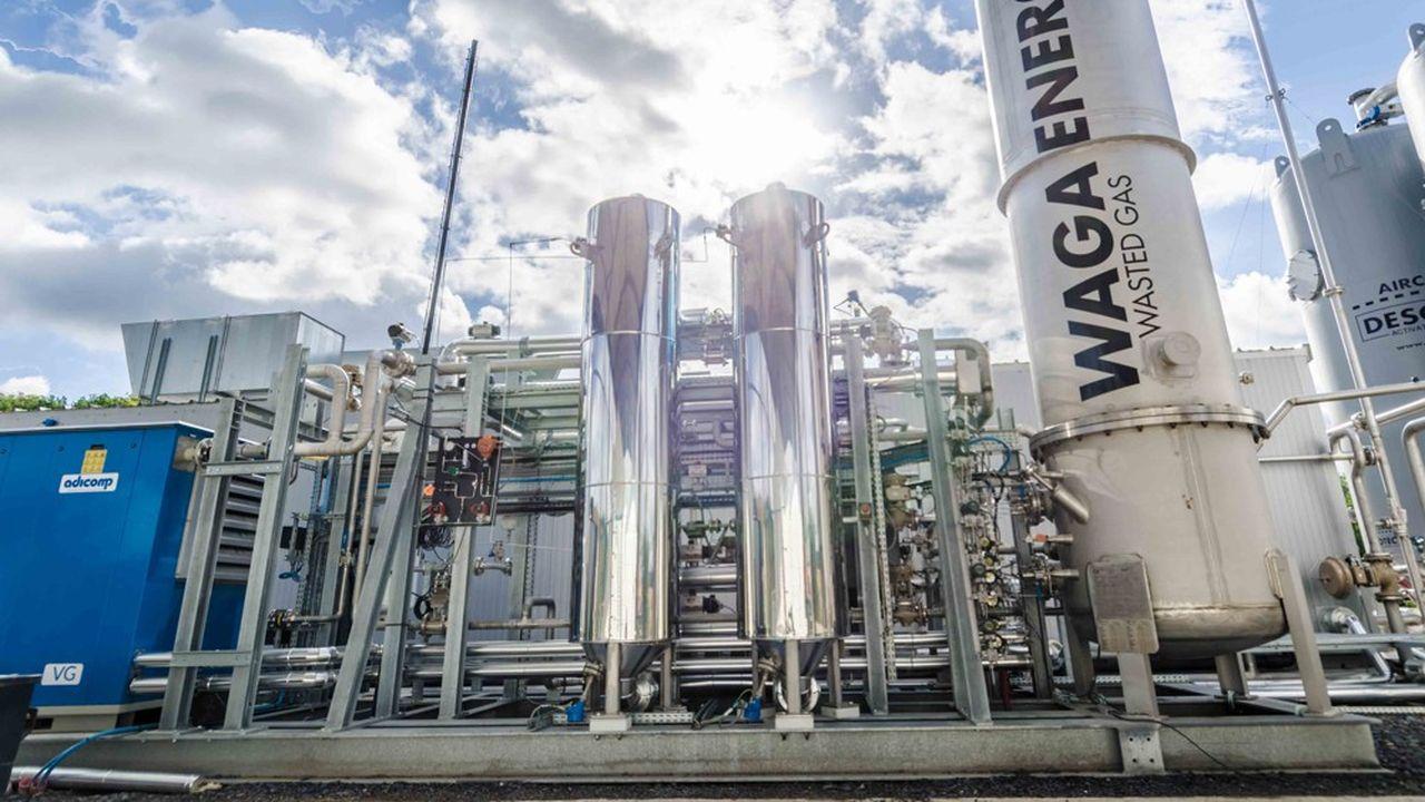 Waga Energy épure des mélanges gazeux pour en extraire du biométhane de grande pureté qui est ensuite injecté dans le réseau de distribution du gaz naturel.